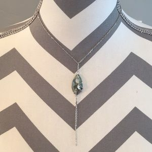 Swarovski green pendent with silver chain with box